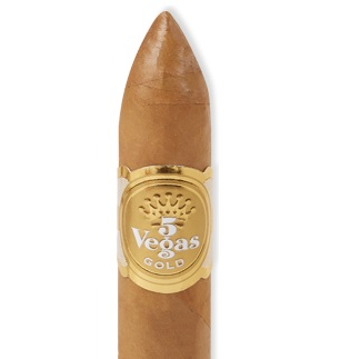 5 vegas torpedo gold cigar band close up image