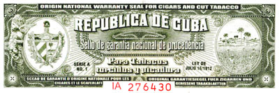 Sancho Panza Cuban Cigar Warranty Seal Print - Matted & Framed image