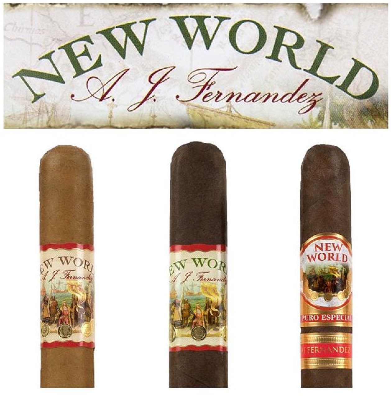 New World by AJ Fernandez Almirante, Belicoso - 5 Pack image