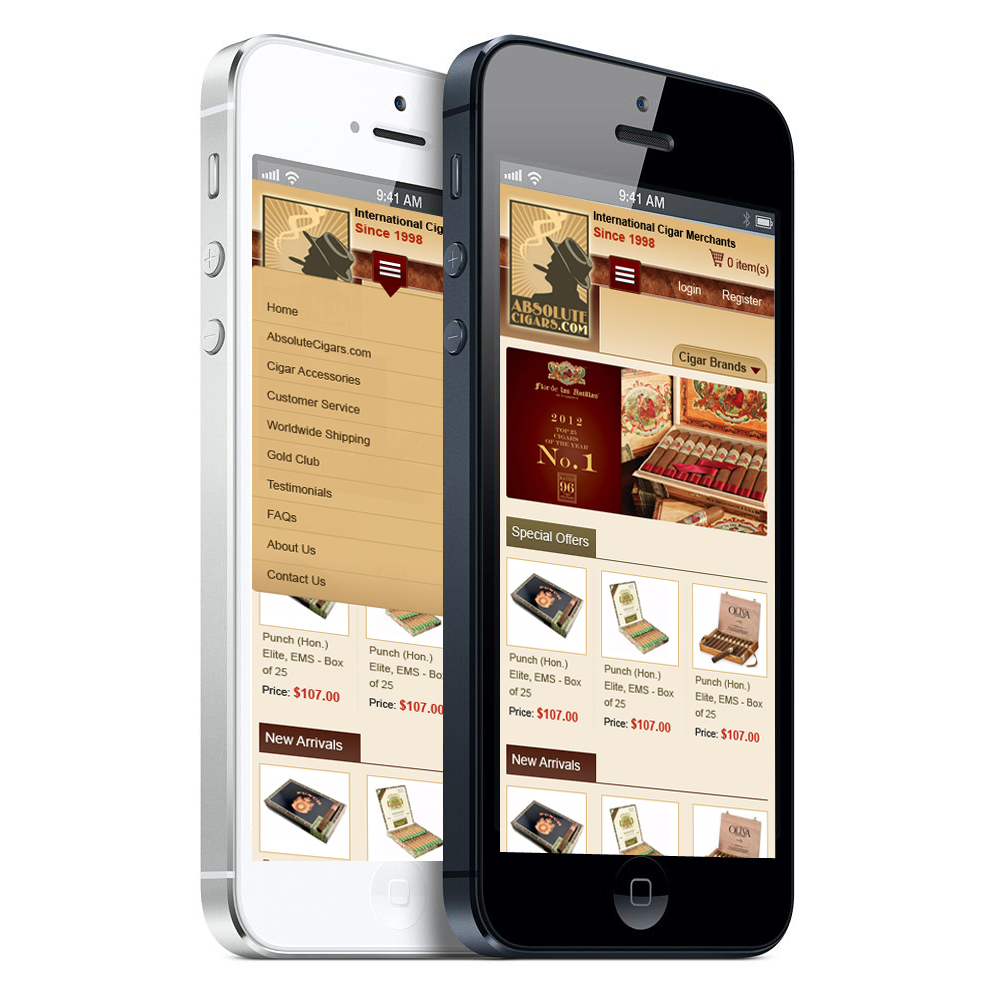 absolute cigars mobile site image