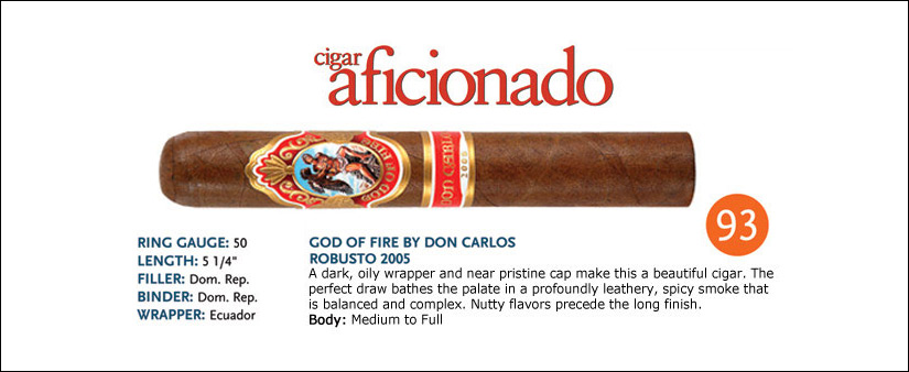 god of fire don carlos toro cigars rating image
