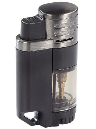 Rockwell Quad II - 4 Jet Lighter, Clear & Black image