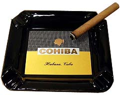 Cuban Cohiba Ceramic 4 Cigar Ashtray - Black