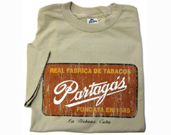 Cuban Partagas Factory Sign T-shirt, Distressed Design