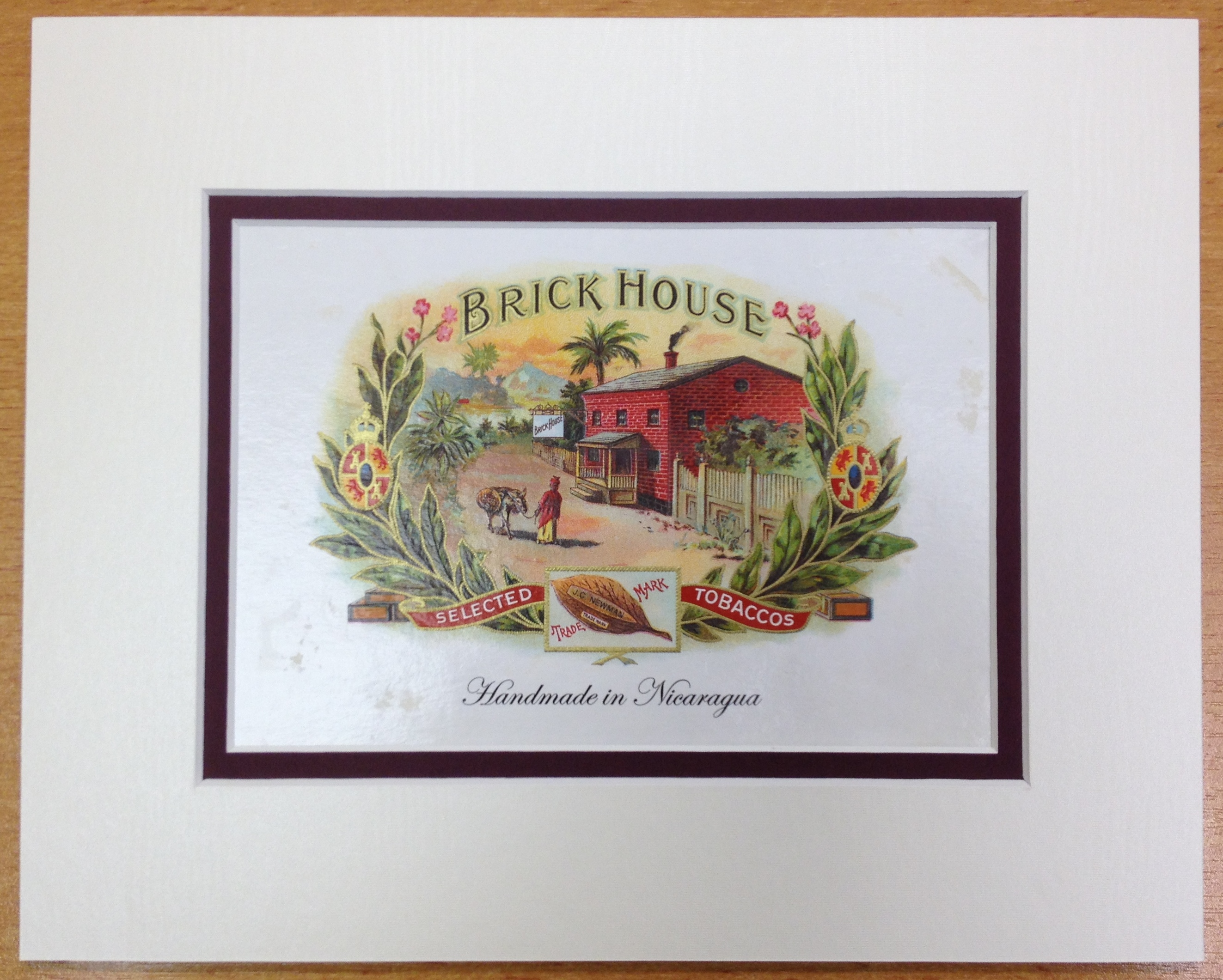 Brick House Maduro Cigar Box Label, Matted, 8 x 10