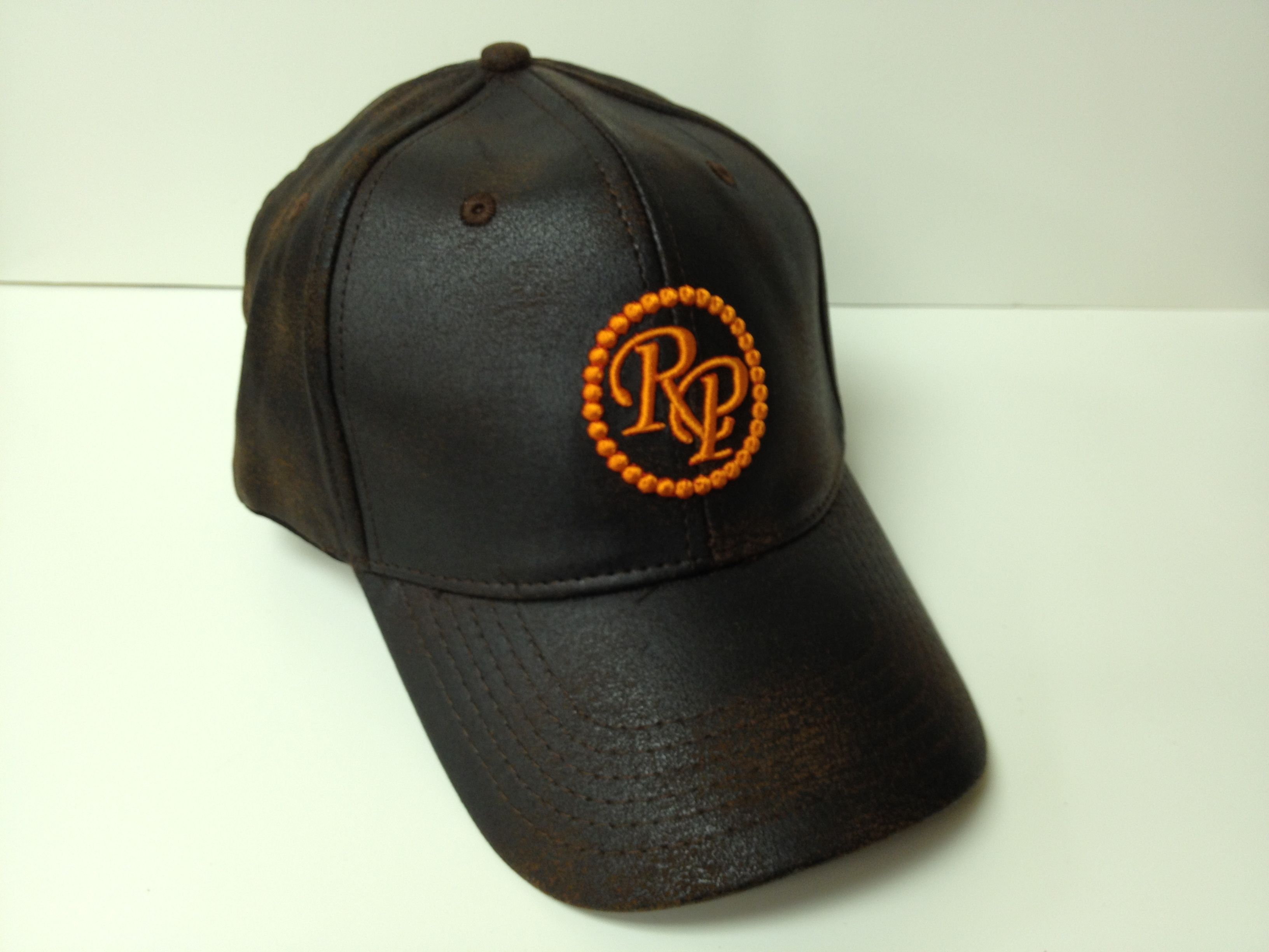 Rocky Patel 50th Anniversary Distressed Tobacco Leaf Style Leather Hat