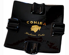 Cuban Cohiba Styled Ceramic Ashtray - Black