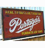 Partagas Partagas Factory Sign - Unique, Solid Wood, Handcrafted - 40 x 22 x 2 1/2