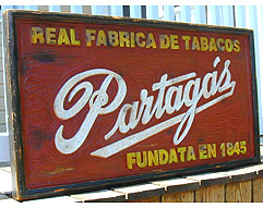 Cuban Partagas Factory Sign - Unique, Solid Wood, Handmade - 40 x 22 x 2 1/2