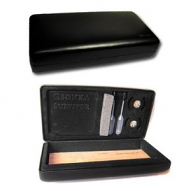 Cuban Cohiba Logo Leather Travel Humidor - Black Napa Leather