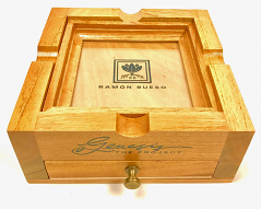 Oak Ashtray, with Brass Handled Ash Drawer