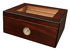 NEW!: The Monaco - 50 Cigar Glasstop Humidor, Cherry Finish